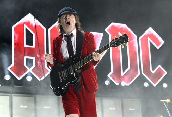 Angus Young of AC/DC performs during the 2015 Coachella Valley Musica and Arts Festival at The Empire Polo Club on April 10, 2015, in Indio, California.