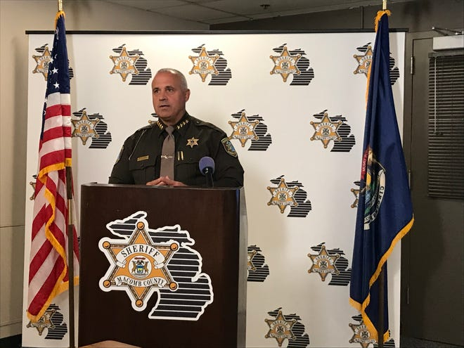 Macomb County Sheriff Anthony Wickersham discusses an arrest in eight home invasions in Macomb Township at the sheriff's office in Mount Clemens on Oct. 2, 2020.