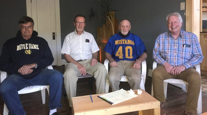 Four members of the 1970 Great Falls Central football team that defeated Great Falls High at Memorial Stadium will be honored Saturday during the Mustangs' Homecoming Game at Memorial Stadium. Left to right are Dave Kelly, Greg Hatley, Charlie Rice and Ken Ethier.