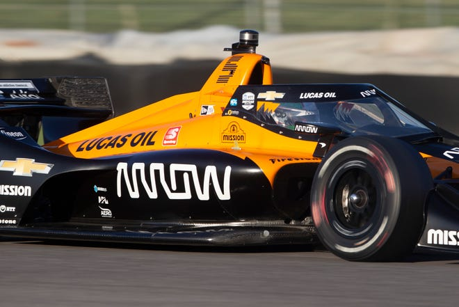 Arrow McLaren SP driver Pato O'Ward (5) of Mexico races during qualifications for the Harvest GP races at Indianapolis Motor Speedway on Thursday, Oct. 1, 2020.