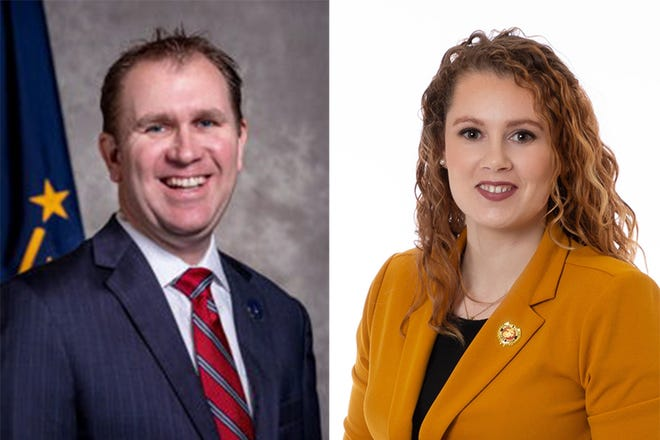 State Sen. Brian Buchanan, right, a Lebanon Republican, is being challenged by Democrat Tabitha Bartley, left, in Indiana Senate District 7.
