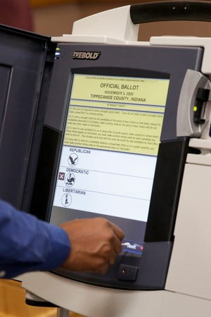 AccuVote TSX voting machine is tested at the Tippecanoe County Office Building ahead of the 2020 general election, Friday, Oct. 2, 2020 in Lafayette.