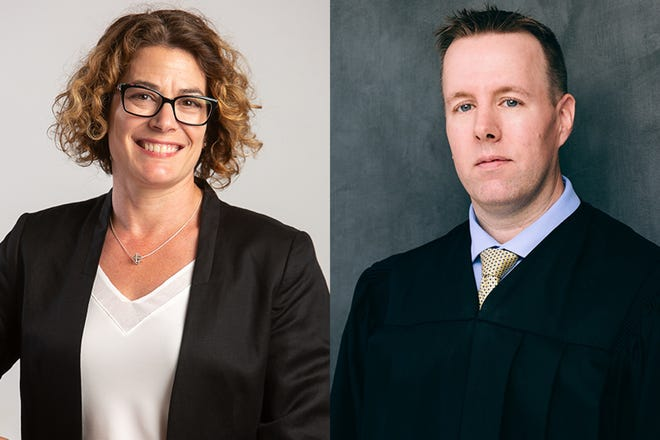 Democat Jacque Chosnek, left, and Republican Dan Moore, right, are running for judge of Tippecanoe Superior Court 7.
