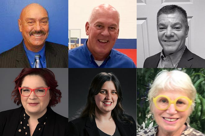 Six candidates are running for three at-large seats on the Tippecanoe County Council. They include, from top left, Republicans John Basham, Barry Richard and Kevin Underwood and from bottom left, Democrats Monica Casanova, Margaret Hass and Susan Schechter.
