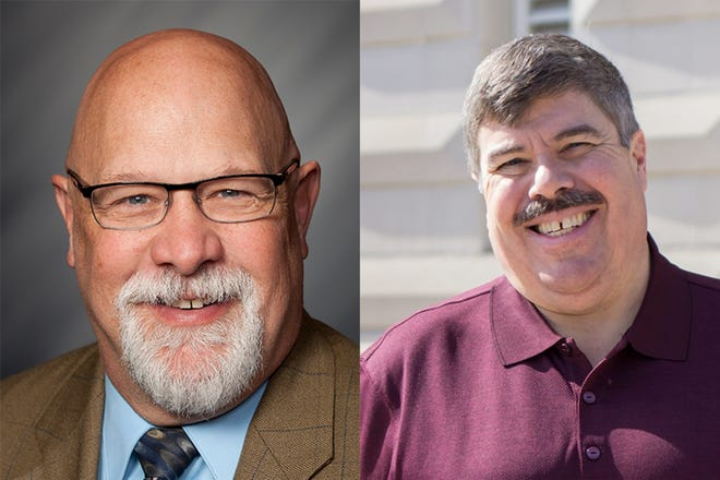 State Rep. Tim Brown, left, a Crawfordsville Republican, is being challenged by Lebanon Democrat Greg Woods, right, in Indiana House District 41.