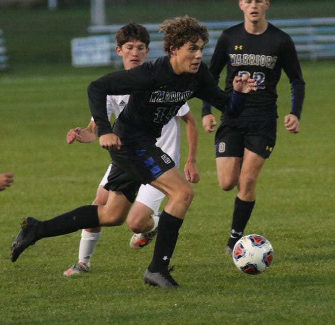 Ontario's Aiden Frankhouse stepped up with two huge goals in a 5-2 soccer win over Clear Fork.