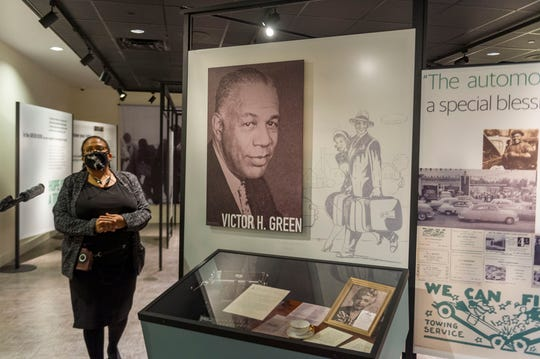 "Noelle Trent, Director of Interpretation, Collections and Education leads a tour at the new traveling exhibit, ""The Negro Motorist Green Book"" on October 2nd, 2020 at the Civil Rights Museum."