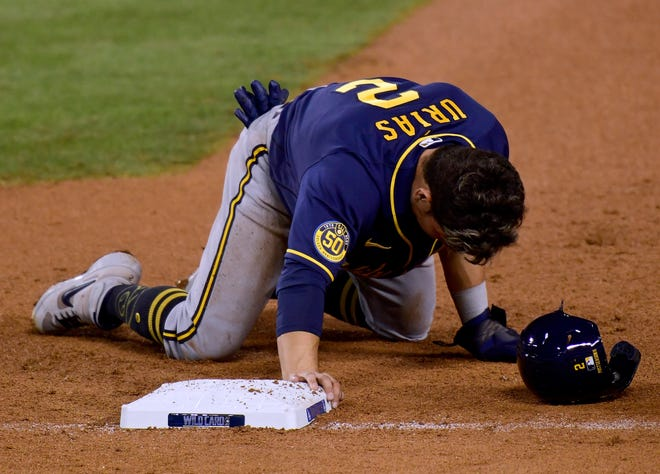 Luis Urias has had a hard time staying on the field since coming to the Brewers.