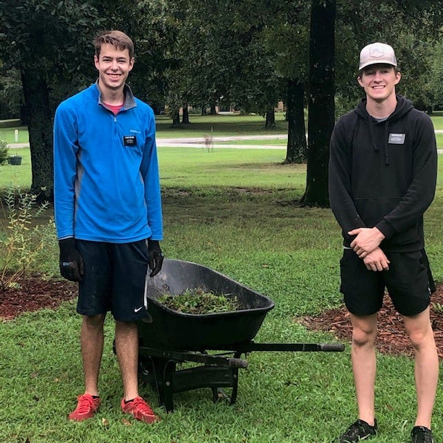 James Gifford of Utah and Logan Miller of Washington are missionaries with The Church of Jesus Christ of Latter-Day Saints serving the Mountain Home area. They are willing to provide free outdoor volunteer service work for those in need. For more information, please call (479) 544-0726.