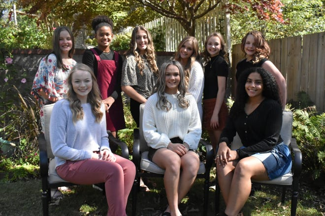 The Yellville-Summit School District will celebrate its 2020 Homecoming court with festivities beginning at 6:30 p.m. on Friday, Oct. 9, at Panther Stadium. The Panthers' football game against Quitman will kick off immediately after the ceremony. Homecoming royalty includes, first row left to right, Senior maids Kasey Struckle, Kiara Doshier, and Janet Ridley; second row left to right, Seventh grade maid Kyla Jackson, Sophomore maid Kambree Gibson, Junior maids Ashlyn Baker and Kylie Ross, Freshman maid Lilly Gates, and Eighth grade maid ElleSandra Lee.