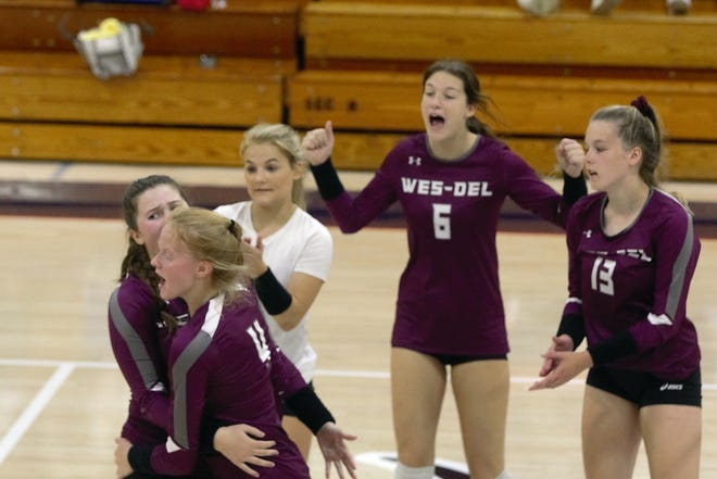 FILE -- Wes-Del celebrates a point during a match against Blue River on Saturday, Sept. 26, 2020.