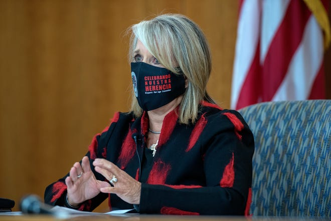 Gov. Michelle Lujan Grisham give an update on COVID-19 trends in New Mexico and the state effort to control it in a news conference on October 1, 2020.