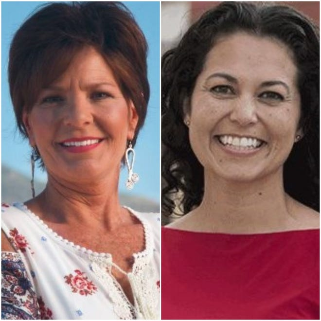 From left, Republican candidate Yvette Herrell challenges U.S. Rep. Xochitl Torres-Small, D-N.M., for Congress in New Mexico's second congressional district. The election is Nov. 3, 2020.