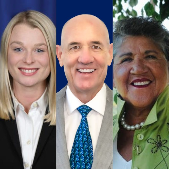Palm Springs Mayor Pro Tem Christy Holstege, left, former Councilman Mike McCulloch, center and newcomer Dian Torres are vying for the District 4 seat on council in the Nov. 3, 2020 election.