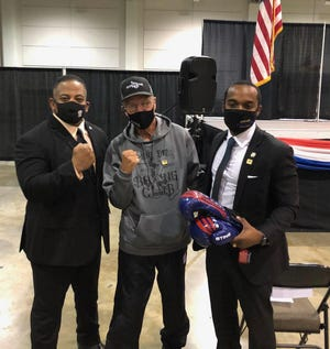 From left: Tyson Lee of USA Boxing, Boxing Olympian Tim Dement, and Shreveport Mayor Adrian Perkins.  Photo courtesy/Mayor Perkins