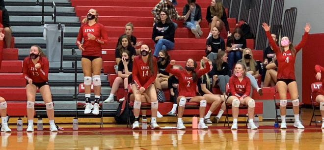 The Brandon Valley bench cheers after a successful Lynx point against Pierre on Thursday, Oct. 1, 2020.