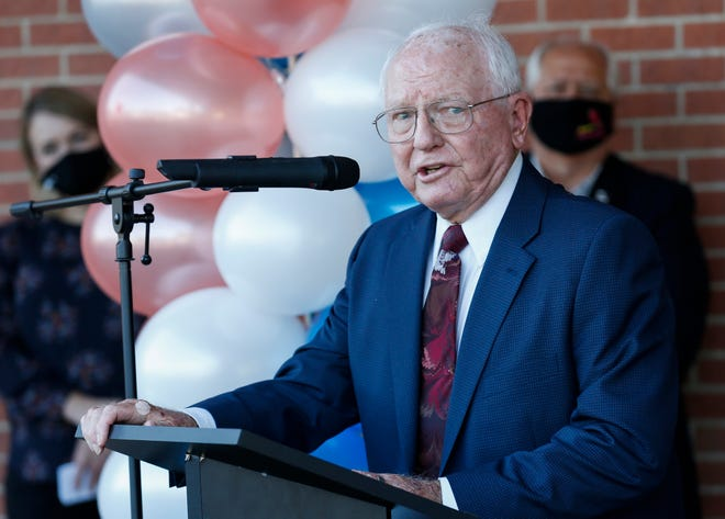 Arthur Mallory speaks during the naming ceremony for the Arthur Mallory Early Childhood Center on Friday, Oct. 2, 2020.