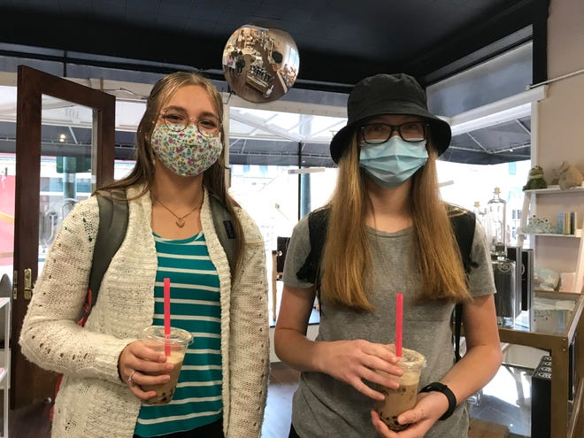 Julia Dryer and Katie Griffin,  juniors at Grace Christian High School in Staunton, both said that while wearing masks all day at school may be a little uncomfortable at times, they want to do it to protect their classmates and teachers. Photograph taken on Thursday, Oct. 1, 2020.