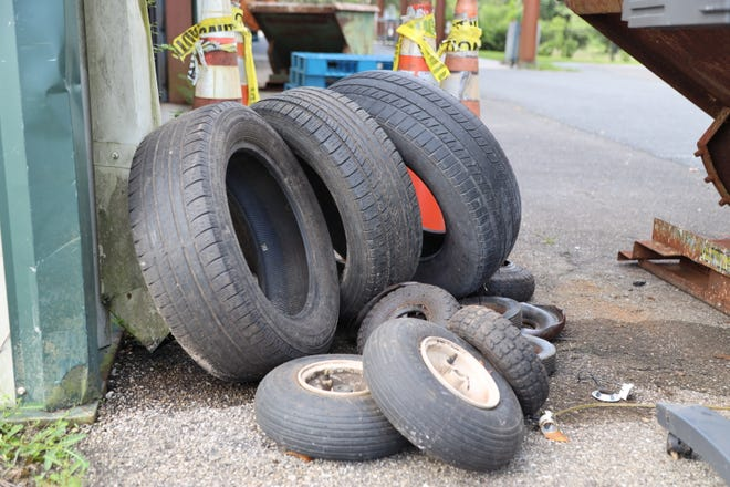 Used tires waiting to be recycled.