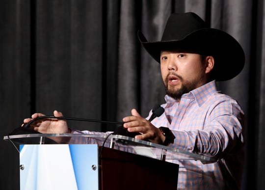 James Huling answers a question Thursday, Oct. 1, 2020, at the Mayoral Debate hosted by KFDX at the Wellington Banquet and Conference Center.