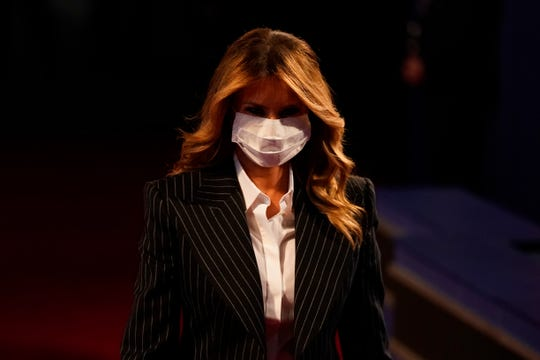 First lady Melania Trump arrives for the first presidential debate Sept. 29, 2020, at Case Western University and Cleveland Clinic, in Cleveland, Ohio.