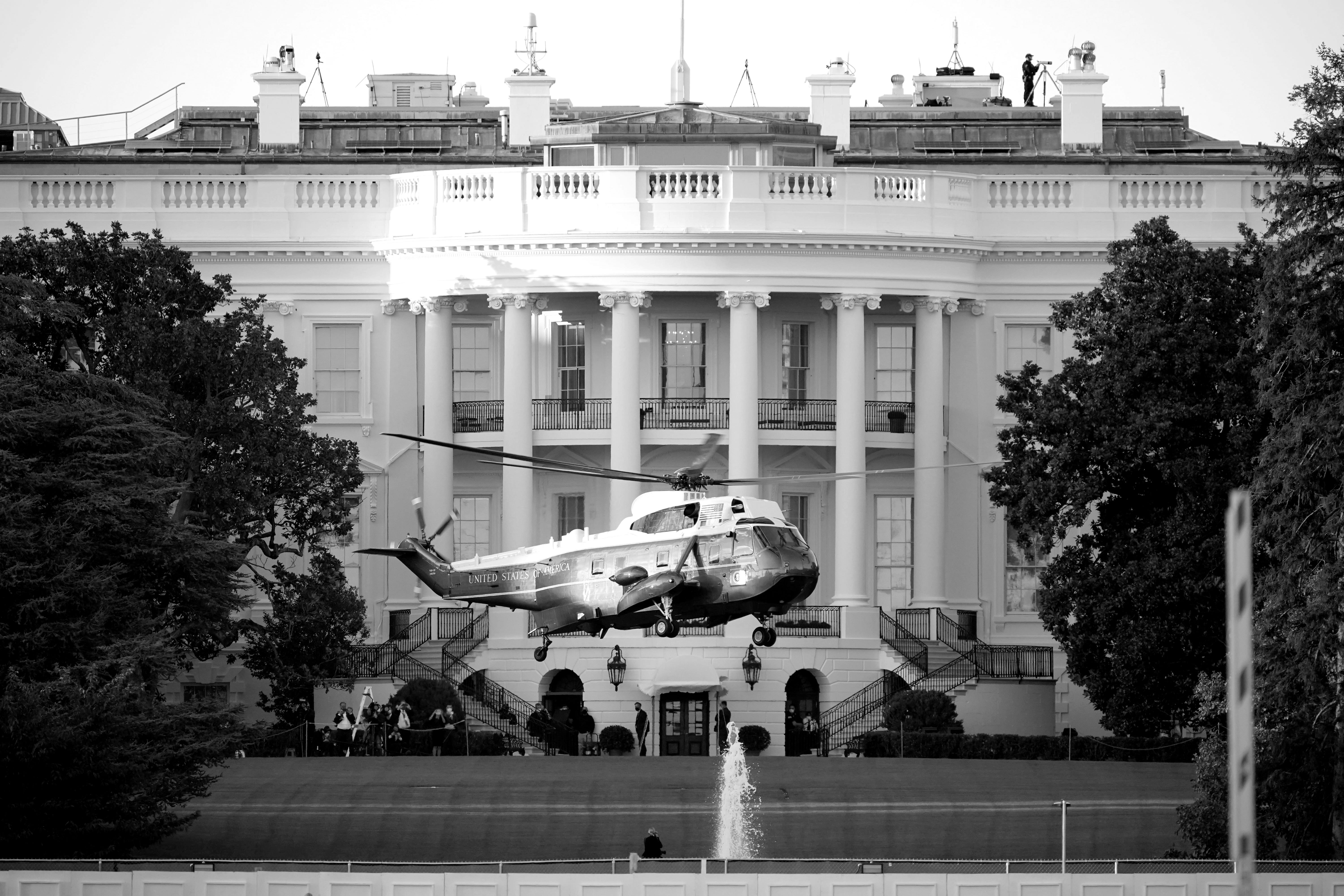 Marine One lifts off from the White House to carry President Donald Trump to Walter Reed National Military Medical Center in Bethesda, Md., Friday, Oct. 2, 2020 in Washington.