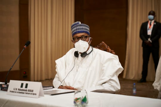 Nigeria's President Muhammadu Buhari is seen after a meeting in Bamako on July 23, 2020.