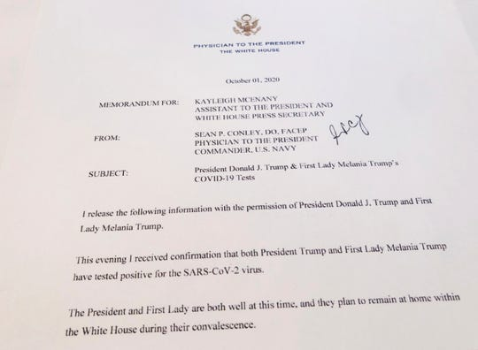 This shows a White House memorandum released Thursday, Oct. 1, 2020 by the Physician to the President, confirming that both President Trump and first lady Melania Trump have tested positive for the SARS-CoV-2 virus.