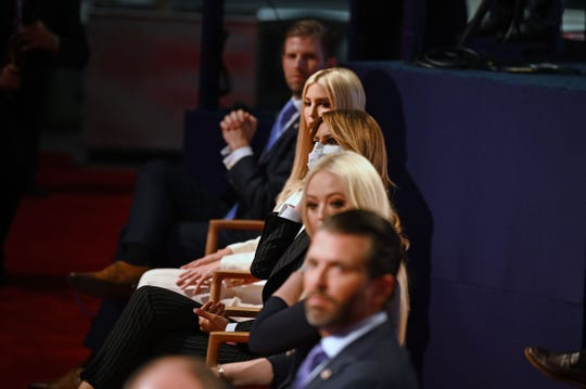 (From top) Eric Trump, Ivanka Trump, First Lady Melania Trump, Tiffany Trump and Donald Trump Jr., are seen ahead of the first presidential debate at the Case Western Reserve University and Cleveland Clinic in Cleveland, Ohio on Sept. 29, 2020.