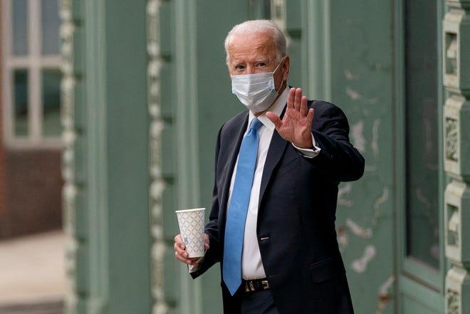 Democratic presidential nominee Joe Biden, a former vice president, departs the Queen Theater in Wilmington, Del., on Oct. 1, 2020.