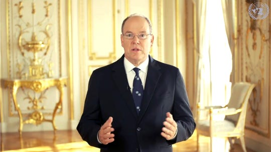Prince Albert II of Monaco speaks in a pre-recorded message which was played during the 75th session of the United Nations General Assembly, Thursday Sept. 24, 2020, at U.N. headquarters, in New York.