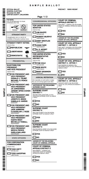 Sample ballot for the Nov. 3 election.
