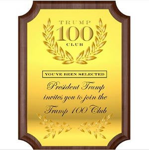 Plaque for the Trump 100 Club