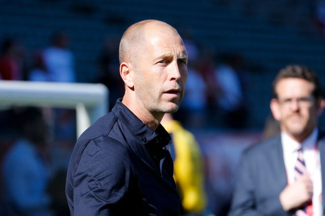 United States head coach Gregg Berhalter during an international friendly soccer match between United States and Costa Rica in Carson, Calif., Saturday, Feb. 1, 2020. The U.S. won 1-0. (AP Photo/Ringo H.W. Chiu)
