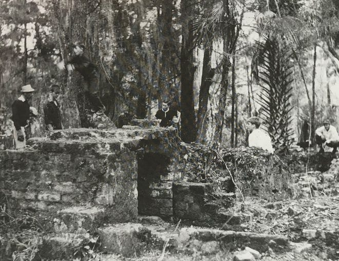 Members of a Flagler County Boy Scout troop explore the ruins of Joseph M. Hernandez's 200-acre St. Joseph sugar plantation in northern Flagler County in the late 1950s. The plantation was one of three owned by Hernandez that were burned down by Native Americans in 1836 during the Second Seminole Indian War. The ruins were destroyed during the development of Palm Coast in the 1970s.