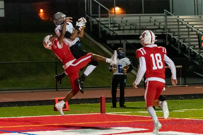Quakertown senior Tyler Merwarth snags a touchdown catch against Souderton  from earlier this month. The Panthers will continue their season after this weekend with non-league games while the Indians will likely be playing in the PIAA District One Class 6A playoffs.