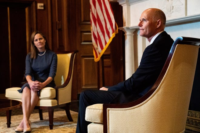 Sen. Rick Scott, R-Fla., right, meets with Judge Amy Coney Barrett, President Donald Trump's nominee for the U.S. Supreme Court, on Capitol Hill in Washington on Tuesday.