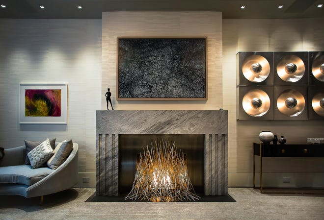 A fire feature in a New York home designed by Elena Colombo.