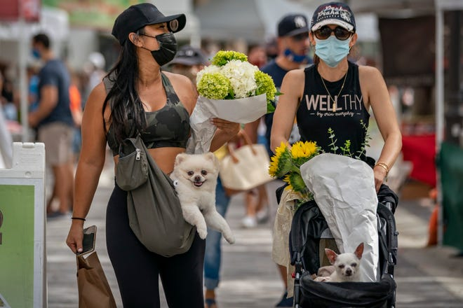Samantha O'Sullivan carries her dog Rocco and Olivia Fleming pushes her dog Peter while visiting the West Palm Beach GreenMarket opening in West Palm Beach, Florida on October 3, 2020.