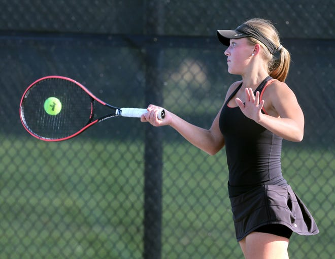 Claire Wood of Hoover returns a shot to Jackson's Rachael Williams during their no. 3 match at Jackson on Monday, Sept. 21, 2020. (CantonRep.com / Scott Heckel)