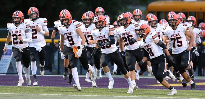 Hoover takes the field at Jackson; Friday, Oct. 2, 2020.