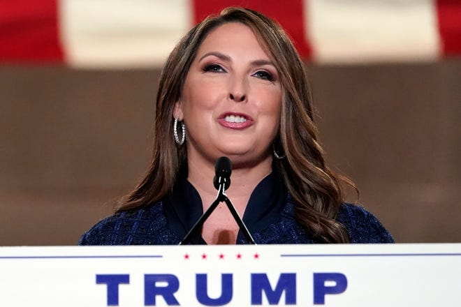 Republican National Committee chairwoman Ronna McDaniel speaks during the first night of the Republican National Convention from the Andrew W. Mellon Auditorium in Washington, Monday, Aug. 24, 2020. (AP Photo/Susan Walsh)
