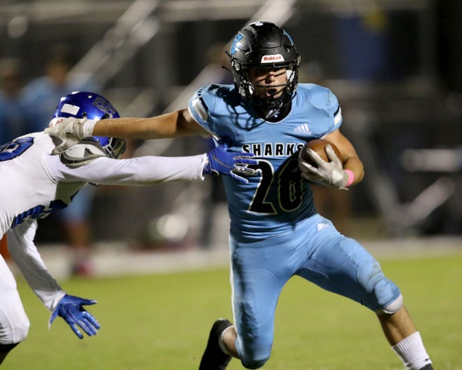 Ponte Vedra running back Campbell Parker eludes a Matanzas defender in the third quarter of their 38-10 win against Matanzas Friday October 2nd, 2020 in Ponte Vedra Beach, Florida.