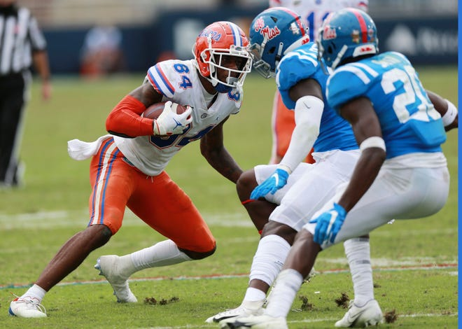 Florida tight end Kyle Pitts turns upfield against Mississippi last Saturday in Oxford, Miss.