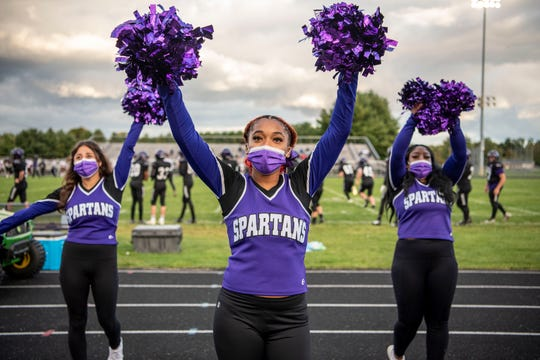Lakeview cheerleaders Kayla Shupp, Alaya Marshall and Minate Lussier swelled the crowd on Friday, October 2 at Lakeview High School in Battle Creek, Michigan. Lakeview defeated Kalamazoo Central 28-12.