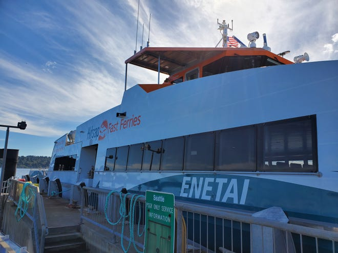 The Enetai, Kitsap Transit's newest bow-loading, passenger-only fast ferry. Kitsap Transit asking riders if it should start fast ferry service in 2020 without a backup boat.