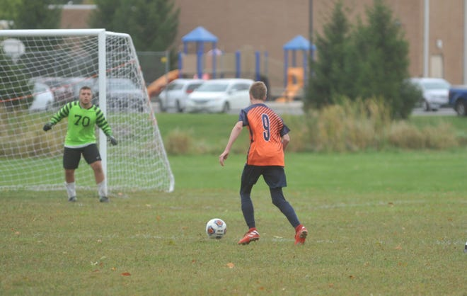 Galion's Justin Guthridge scored a lofted goal over the Upper Sandusky GK for the team's third of the match.