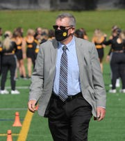 Adrian College athletic director Michael Duffy on the field before action against Trine University, Saturday, October 3, 2020 at Docking Stadium in Adrian, Michigan.