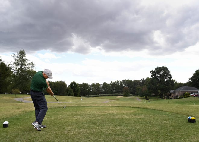 Member Brad Boyd tees off on number ten at the Henderson County Golf Course Friday. The 142-acre 18-hole course has been sold to Charles Morris,one of its members, October 1, 2020.
