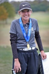 Macy Beeson, from Lapel, smiles after receiving acknowledgement as the State Champion player, during the IHSAA finals of the 2020-21 Girls Golf State Tournament at Prairie View Golf Club in Carmel, Saturday, Oct. 3, 2020.